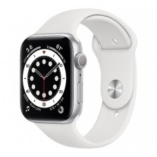 Смарт-часы Apple Watch Series 6 44mm Silver Aluminum Case with White Sport Band(M00D3)